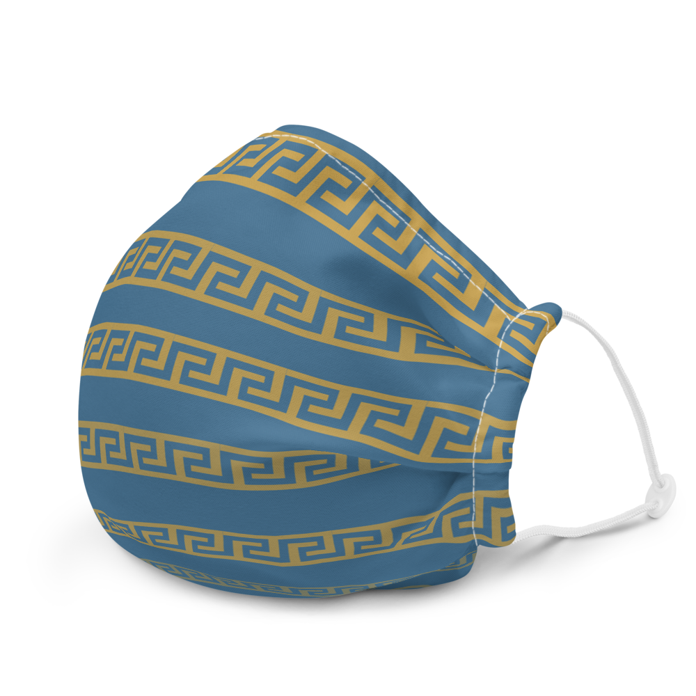 Greek Key On Blue Premium face mask