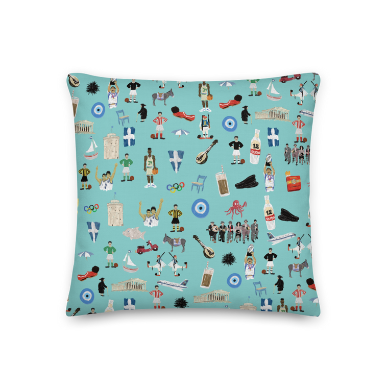 You're Greek Turquoise Premium Pillow