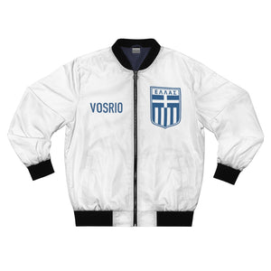 Classic Hellas Blue On White VOSRIO Unisex Bomber Jacket