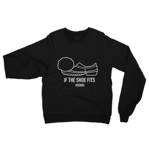 If the Shoe Fits White on Black raglan sweater