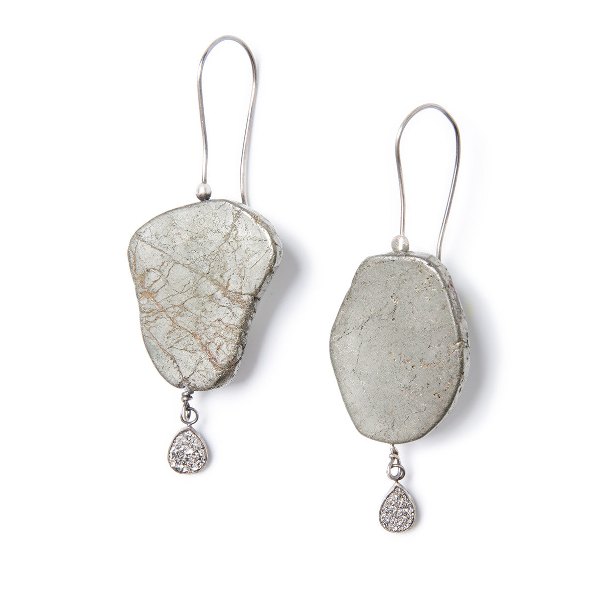 Pyrite And Druzy Drop Earrings