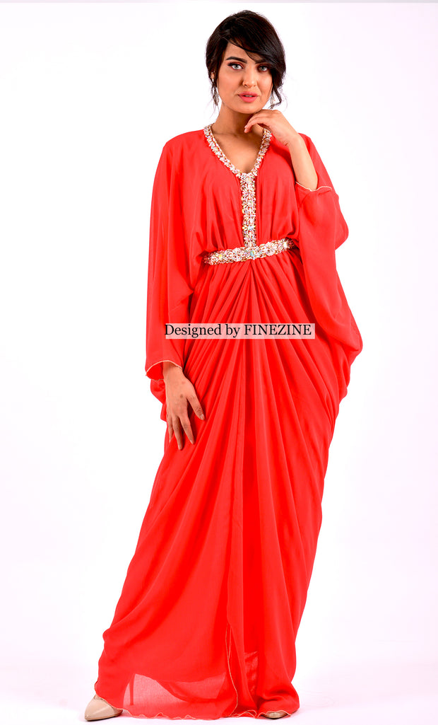 Leila - Gandoura Kaftan Rouge orange