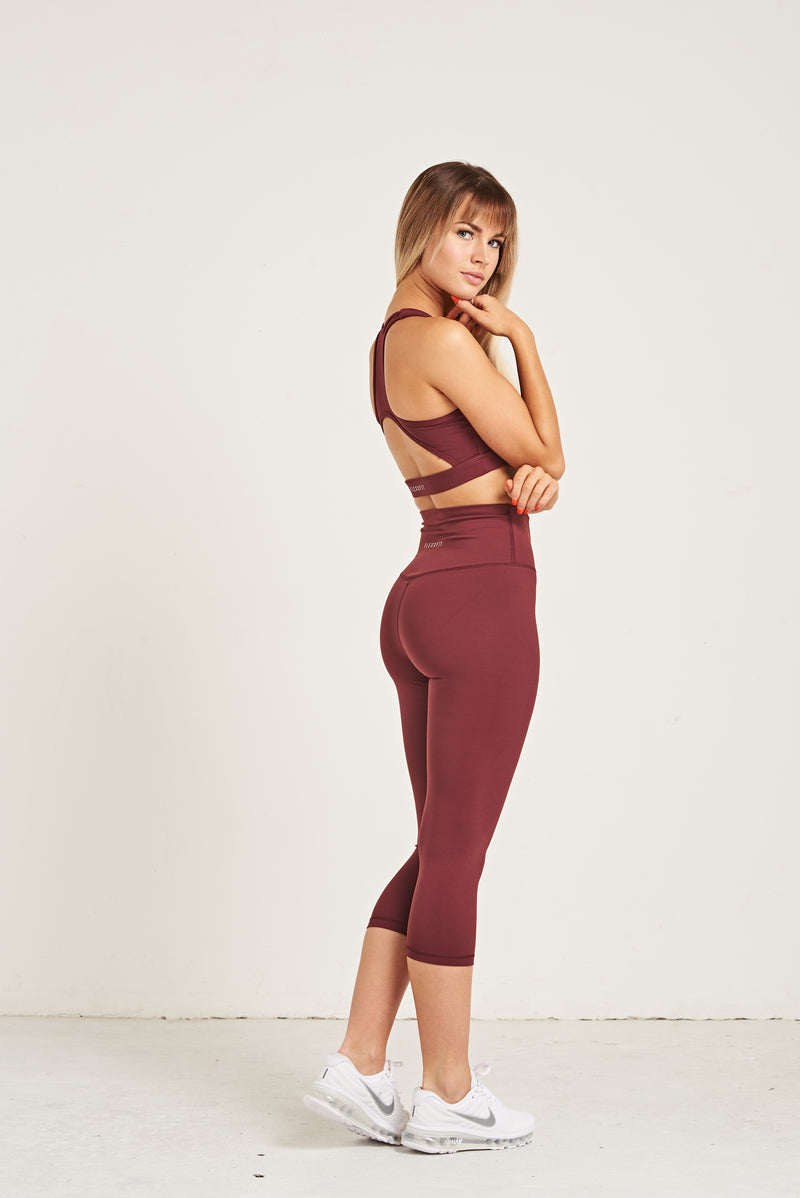 Luxe Crop Leggings 18 Inches - Burgundy