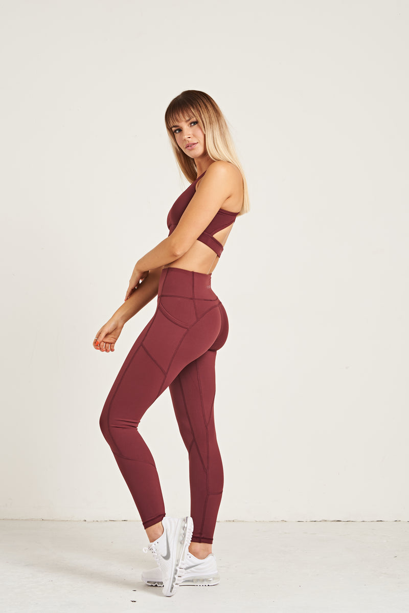Luxe Heart Contour Leggings - Burgundy