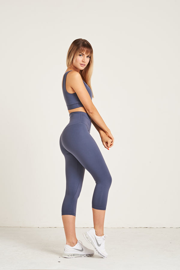 Luxe Crop Leggings 18 Inches - Steel Blue
