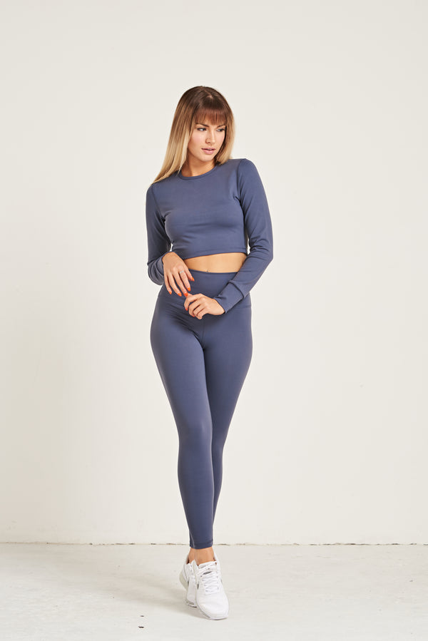 Crop Long Sleeve - Steel Blue