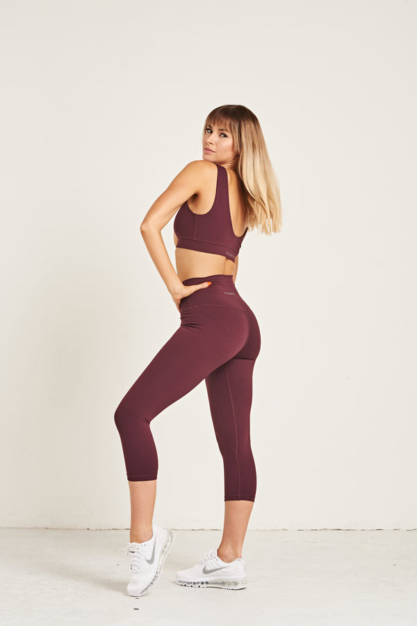 Luxe Crop Leggings 18 Inches - Dark Purple