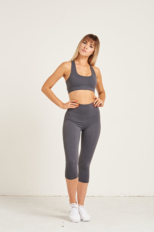 Luxe Crop Leggings 18 Inches - Steel Grey
