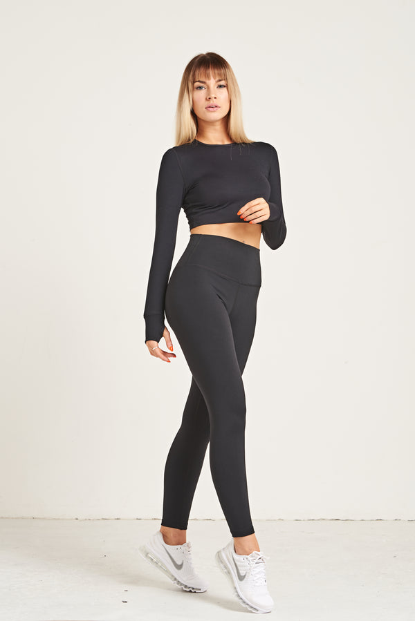 Crop Long Sleeve - Jet Black