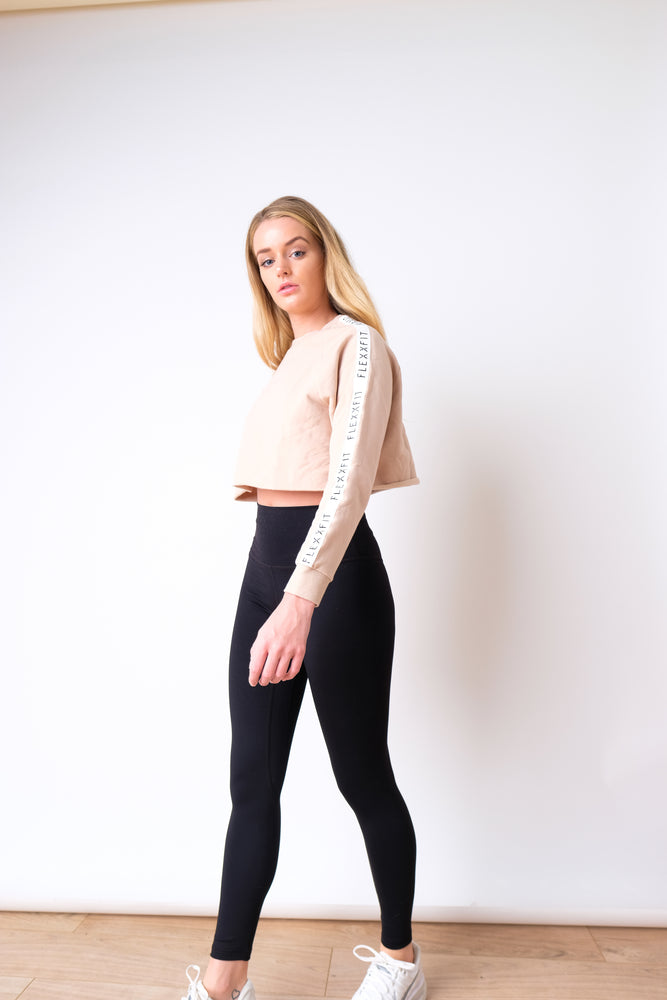 Luxe Tape Crop Sweater - Desert Sand (FLEXXFIT Logo)