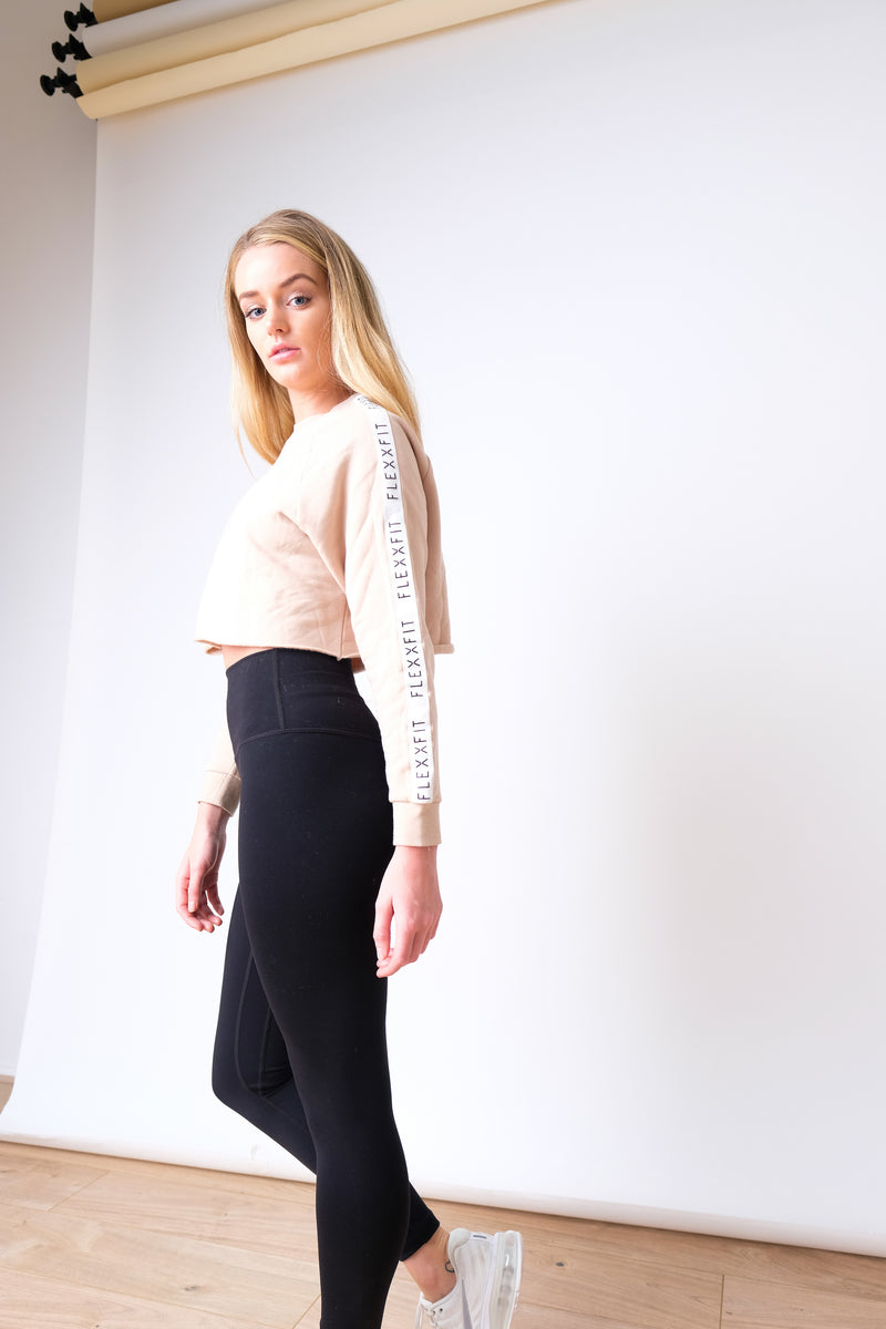 Luxe Tape Crop Sweater - Desert Sand