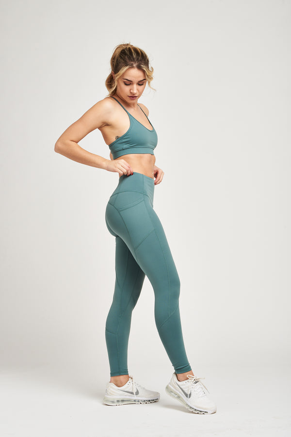 Luxe Heart Contour Leggings - Seafoam