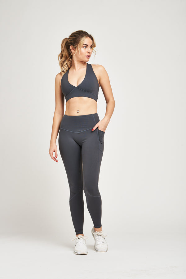 Luxe Heart Contour Leggings - Steel Grey