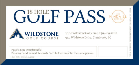 Wildstone Golf Pass - 2019