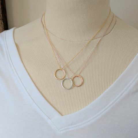 Circle Necklace - silver, rose gold, gold necklaces