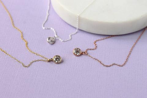 Tiny Crystal Necklace - diamond alternative necklace