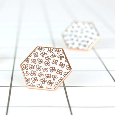 Rose gold floral enamel pin