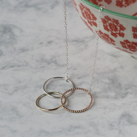 Ombre Linked Circle Necklace - rose gold fill, sterling silver, gold fill