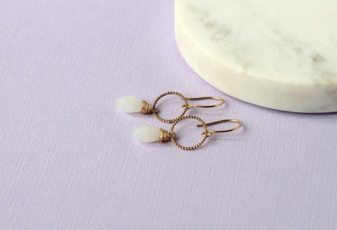 White Opal and Gold Earrings