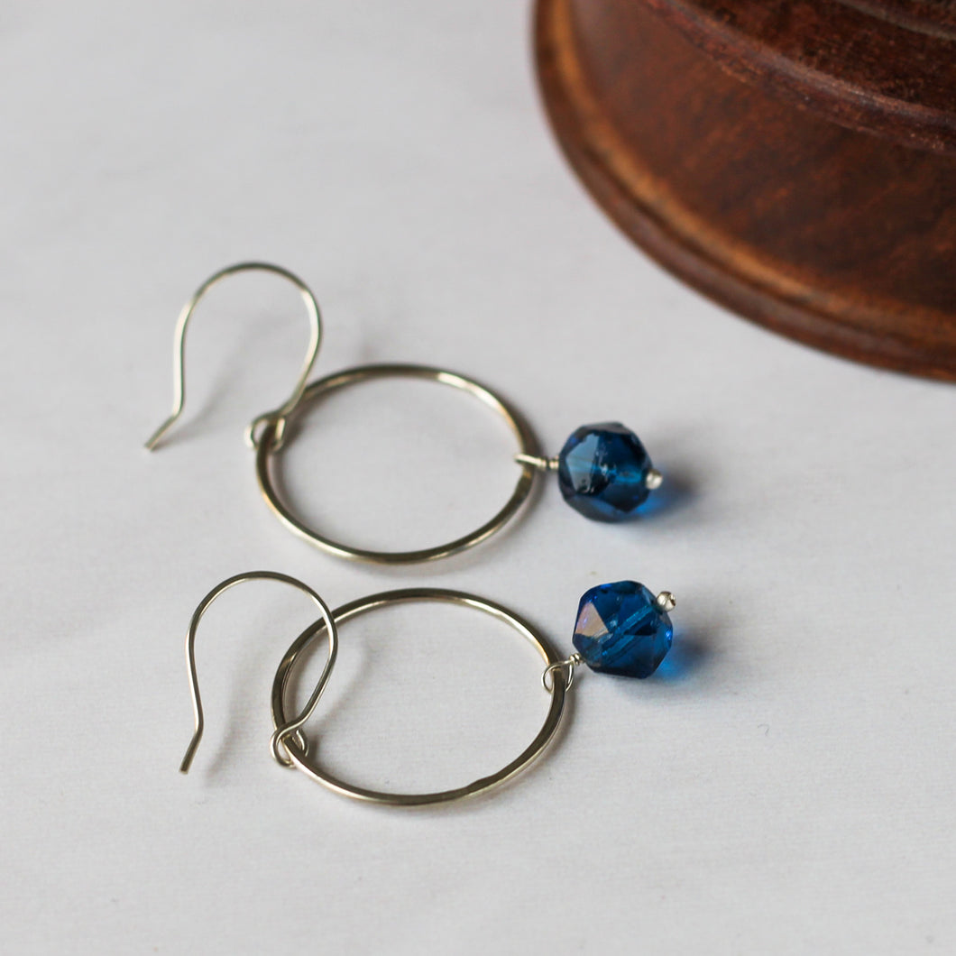 blue beaded and recycled silver earrings