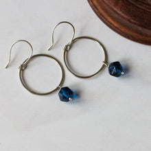 blue bead and sterling silver earrings