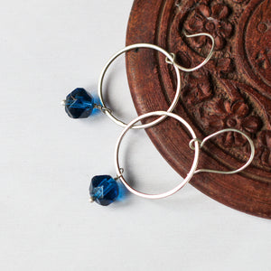 vintage bead earrings with recycled silver