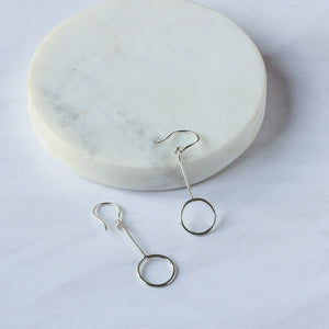 Sustainable silver drop earrings