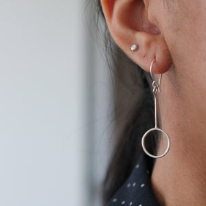 Halo Earrings - sterling silver drop earrings