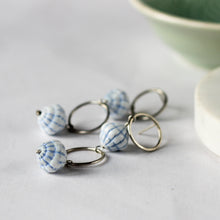 blue scalloped shaped beads and recycled sterling silver earrings