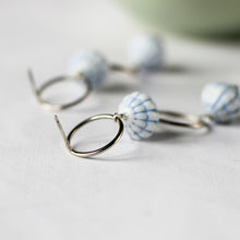 blue vintage bead stud earrings