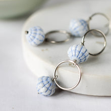 blue vintage bead and silver earrings
