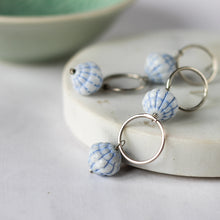 blue vintage beaded stud earrings