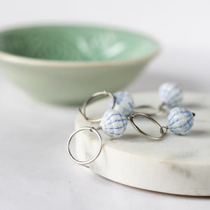 blue scallop beaded earrings - vintage and silver