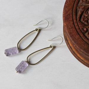 teardrop shaped earrings with purple beads and silver
