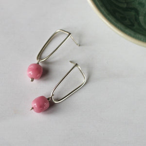pink vintage bead and silver studs