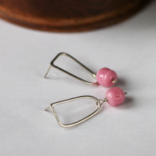 pink stud earrings with vintage beads and recycled silver