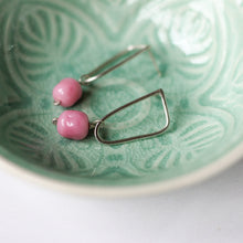 pink beaded stud earrings