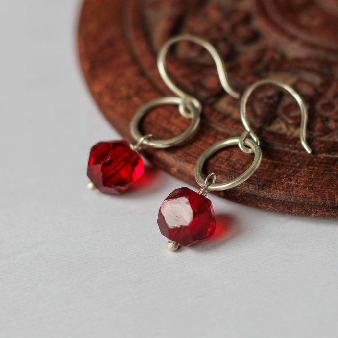 red rough cut vintage bead earrings