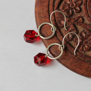 sterling silver earrings with red beads