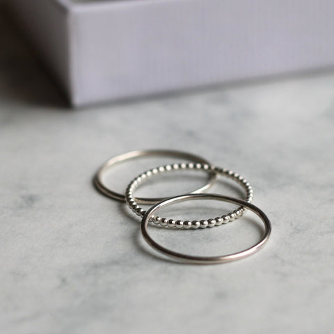 Dot and Smooth Stacking Ring Set - Silver