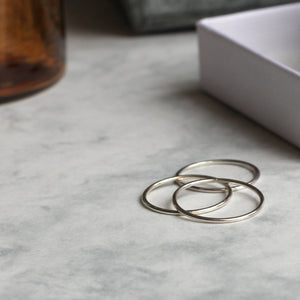 Set of Three Skinny Stacking Rings - Sterling Silver