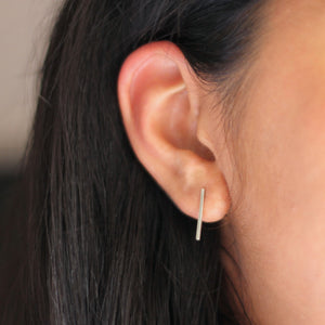 Long Bar Studs - Sterling Silver