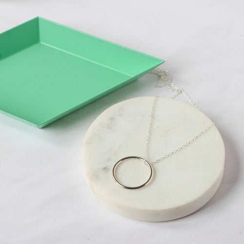 Orbit Necklace - chunky sterling silver long circle necklace