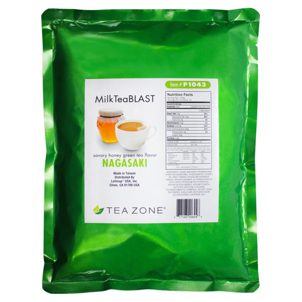 Tea Zone MilkTeaBLAST Nagasaki Savory Honey Green Tea Powder (2.2 lbs) - CustomPaperCup.com Branded Restaurant Supplies