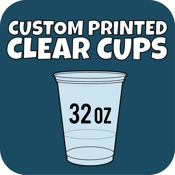32oz Custom Printed Clear Cups 500ct - CustomPaperCup.com Branded Restaurant Supplies