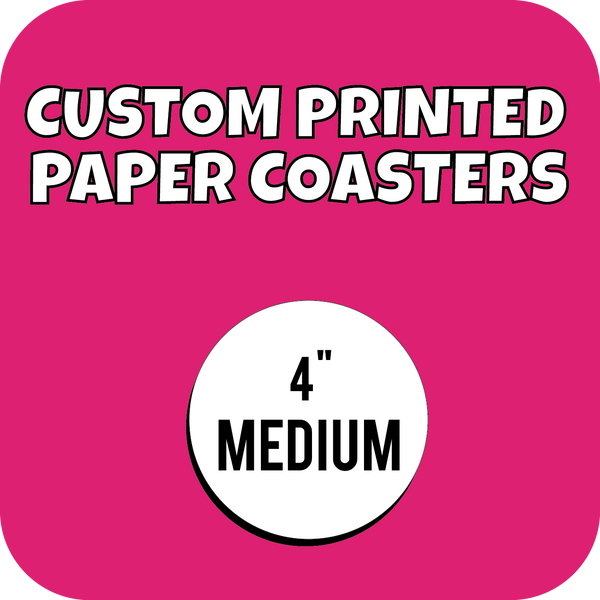 4in Medium Weight Custom Printed Paper Drink Coasters - CustomPaperCup.com Branded Restaurant Supplies