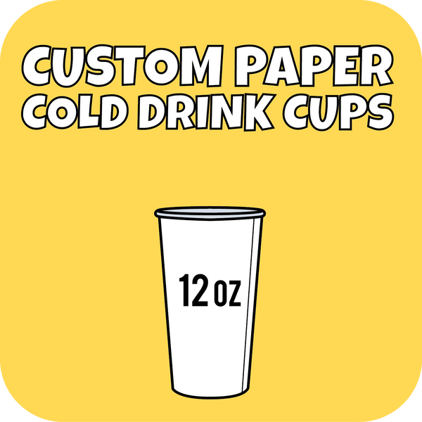 12oz Custom Printed Paper Cold Drinks Cups 1000ct - CustomPaperCup.com Branded Restaurant Supplies