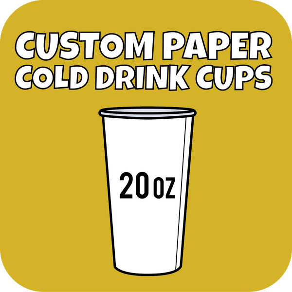 20oz Custom Printed Paper Cold Drinks Cups 700ct - CustomPaperCup.com Branded Restaurant Supplies