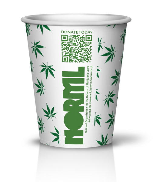 "8oz NORML ""Legalize It"" Marijuana Leaf Print Cups 500ct - CustomPaperCup.com Branded Restaurant Supplies"