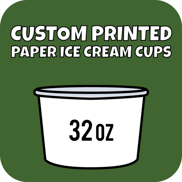 32oz Custom Printed Paper Ice Cream Cups - CustomPaperCup.com Branded Restaurant Supplies